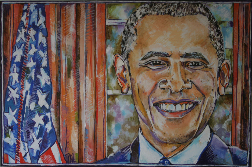 "Mr. President | President Barack Obama | Original Oil Painting on Wood | 24"" x 36""-Oil Painting-Sterling-and-Burke"