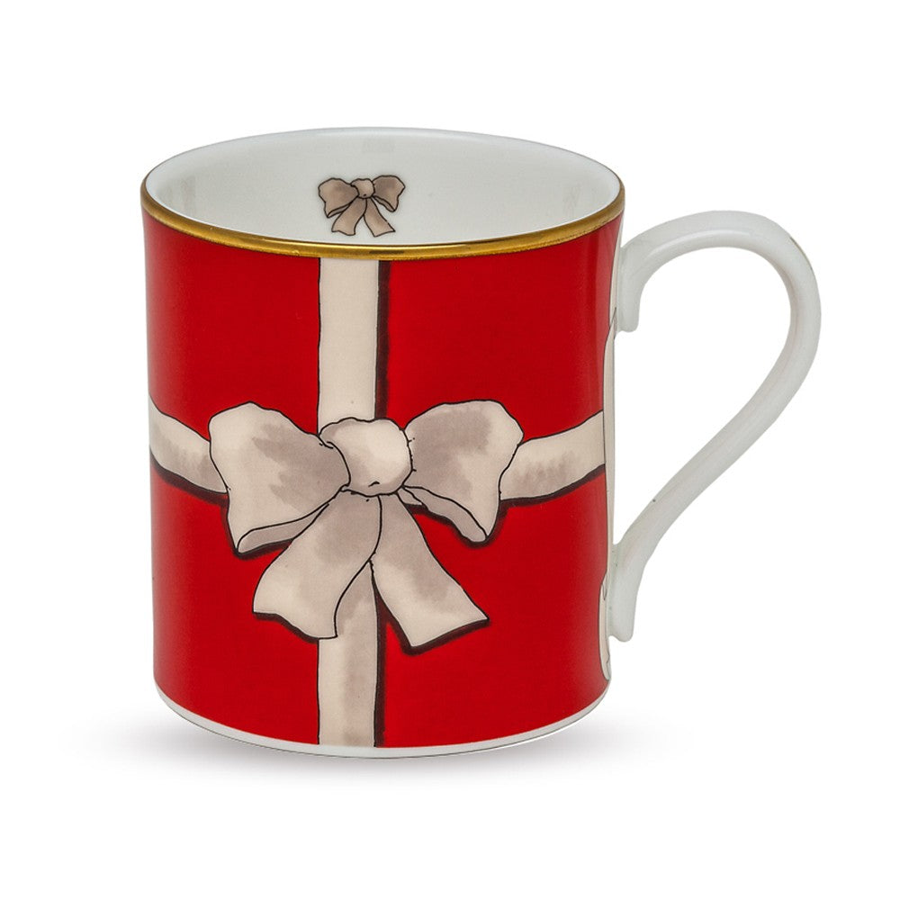 Halcyon Days Ribbon Mug in Red-Bone China-Sterling-and-Burke
