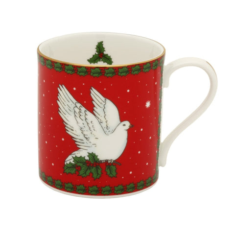 Fine Bone English China | Dove of Peace Mug | Red | Halcyon Days | Made in England