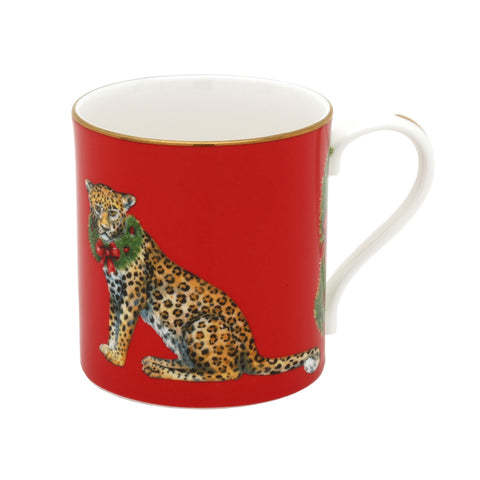 English Fine Bone China | Festive Leopard Mug | Halcyon Days | Made in England