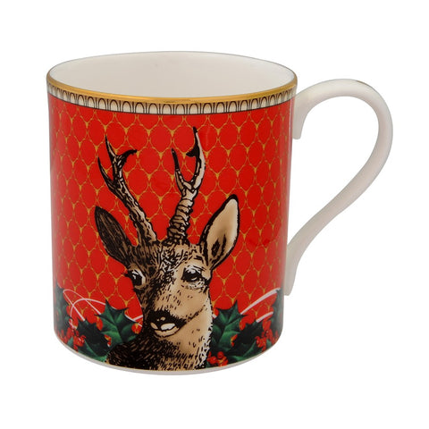 Fine Bone English China | Antler Trellis and Stag Mug Set | Red | Halcyon Days | Made in England