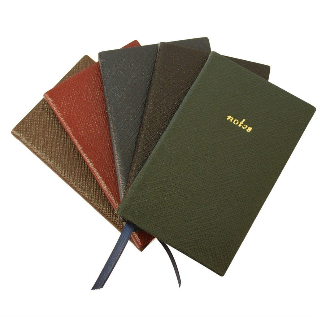 "Crossgrain Leather Notebook, 5x3, ""Notes""-Titled Notebooks-Sterling-and-Burke"