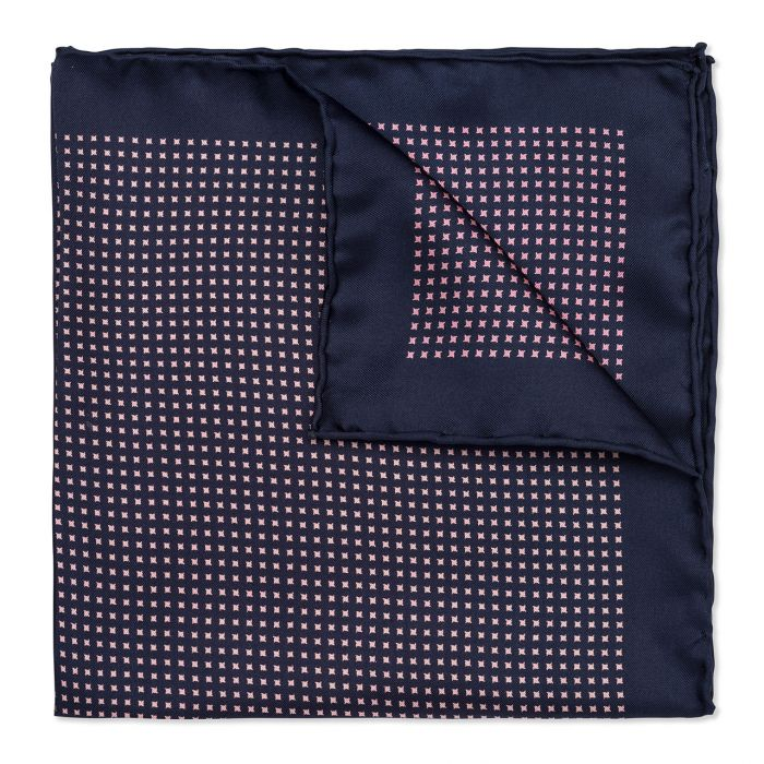 Budd Neat Pinwheel Silk Pocket Square in Navy & Pink-Pocket Square-Sterling-and-Burke