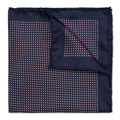 Budd Neat Pinwheel Silk Pocket Square in Navy & Pink