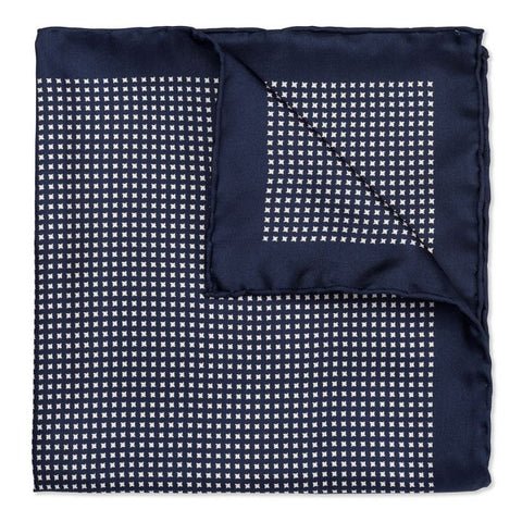 Budd Neat Pinwheel Silk Pocket Square in Navy & White-Pocket Square-Sterling-and-Burke