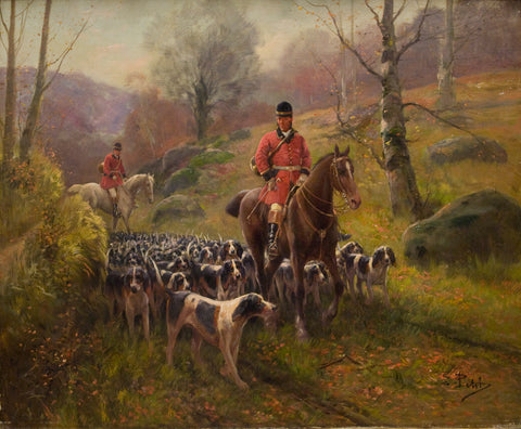 Antique Oil Painting | Hunting Scene by Eugene Petit | 31.5 by 36 Inches