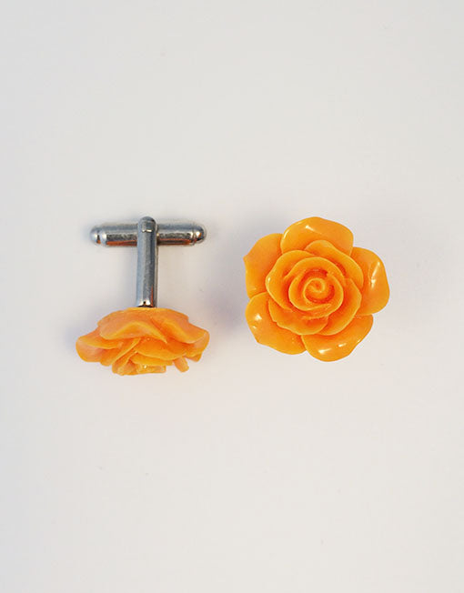 Flower Cufflinks | Orange Floral Cuff Links | Polished Finish Cufflinks | Hand Made in USA-Cufflinks-Sterling-and-Burke