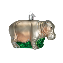 Christmas Ornament | GW Hippo | George Washington Univ Hippo | Hippopotamus Christmas Ornament | Vintage Style-Christmas Ornament-Sterling-and-Burke