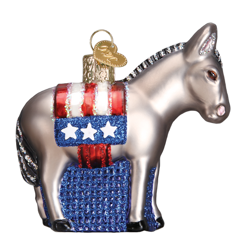 Christmas Ornament | Democratic Donkey | Democratic Patriotic Christmas Holiday Ornament | Vintage Style-Christmas Ornament-Sterling-and-Burke