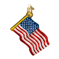 Christmas Ornament | US Flag | Stars and Stripes Ornament | Vintage Style | American Flag | Hand Blown Glass-Christmas Ornament-Sterling-and-Burke