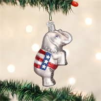 Christmas Ornament | GOP Elephant | Republican Patriotic Christmas Ornament | Vintage Style-Christmas Ornament-Sterling-and-Burke