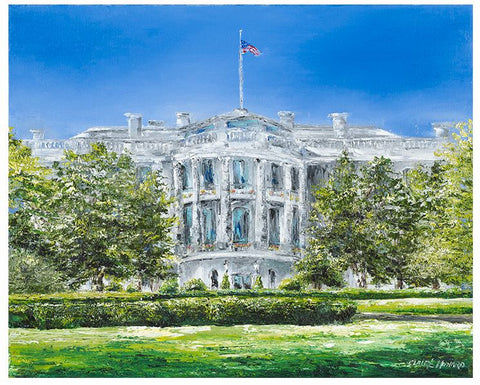 "Art | The White House in Spring | Original Oil Painting by Claire Howard | 18"" x 24"""