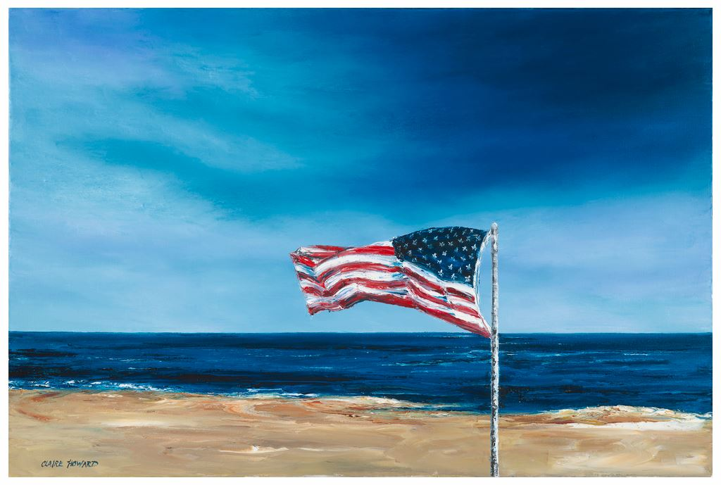 From Sea to Shining Sea | Patriotic American Painting | US Flag at the Beach | Original Oil Painting | 24 by 18 Inches | Claire Howard-Giclee Print-Sterling-and-Burke