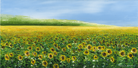 "Art | Spring Sunshine | Field of Sunflowers | Original Oil Painting by Claire Howard | 30"" x 60""-Oil Painting-Sterling-and-Burke"