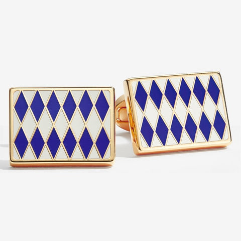 Halcyon Days Parterre Cufflinks in Deep Cobalt, Cream and Gold-Enamel Cufflinks-Sterling-and-Burke