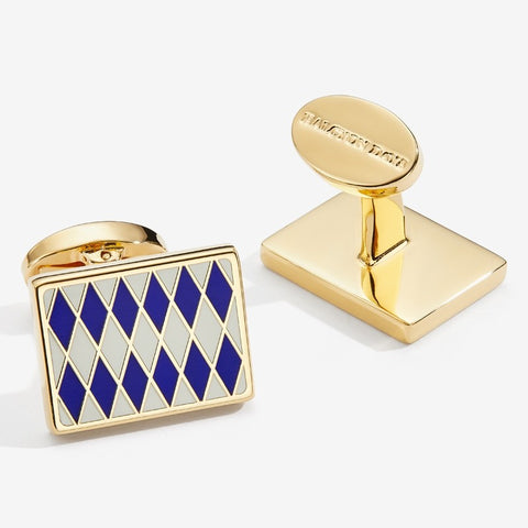 Enamel Cufflinks | Parterre Cufflinks | Deep Cobalt / Cream / Gold | Halcyon Days | Made in England