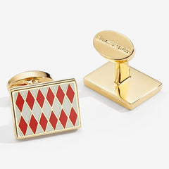 Halcyon Days Parterre Cufflinks in Red, Cream and Gold-Enamel Cufflinks-Sterling-and-Burke