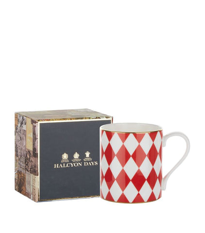 Fine Bone English China | Parterre Mug | Red | Halcyon Days | Made in England