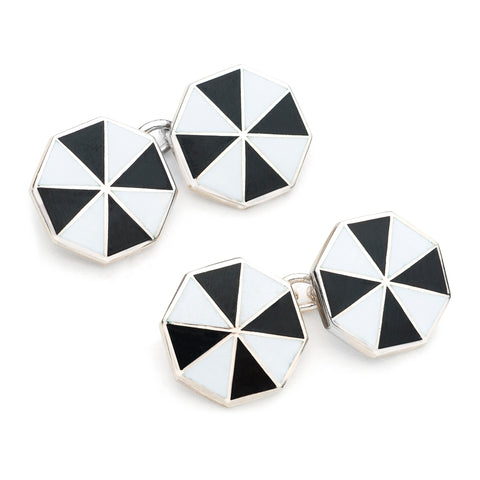 Budd Pinwheel Cloisonné Enamel Cufflinks in Black & White-Cufflinks & Studs-Sterling-and-Burke