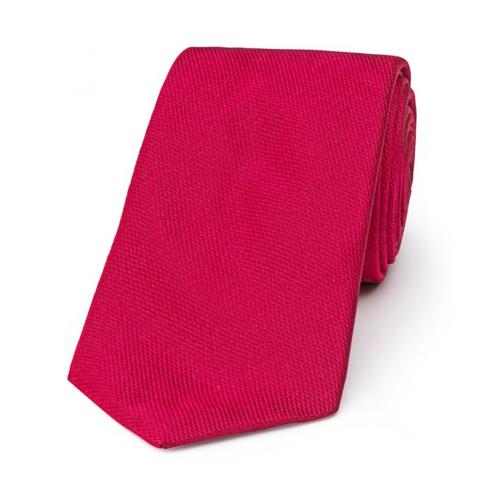 Budd Plain Barathea Tie in Magenta-Necktie-Sterling-and-Burke