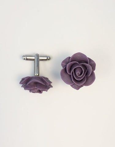 Flower Cufflinks | Plum Floral Cuff Links | Matte Finish Cufflinks | Hand Made in USA