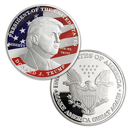 Commemorative Novelty Coin | President Donald Trump Silver Commemorative Novelty Coin | 45th President of the United States | Sterling and Burke | Made in USA