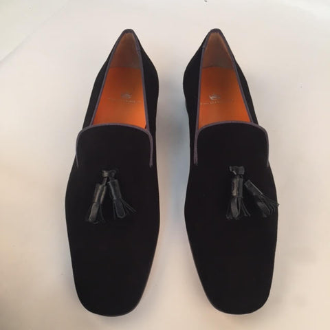 Custom Prince Albert Tassel Slipper Shoes | Velvet with Ribbon Trim | Highest Quality | Sterling and Burke | Orange-Bespoke Shoes-Sterling-and-Burke