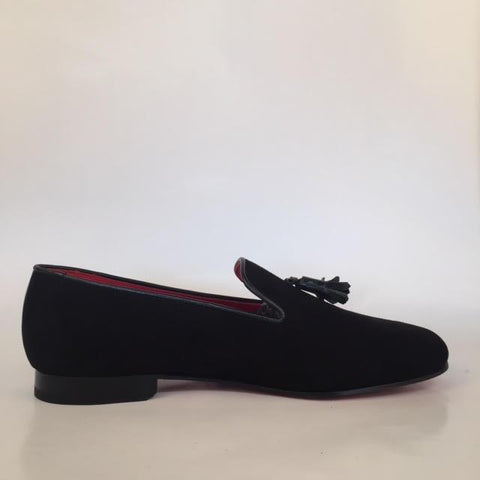 Custom Prince Albert Tassel Slipper Shoes | Velvet with Leather Trim | Highest Quality | Sterling and Burke | Red-Bespoke Shoes-Sterling-and-Burke