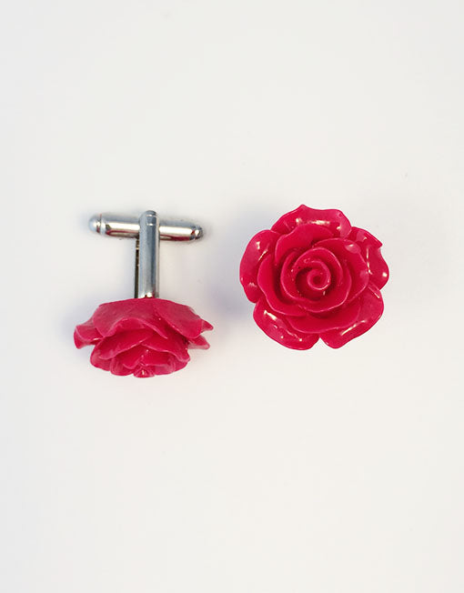Flower Cufflinks | Red Floral Cuff Links | Polished Finish Cufflinks | Hand Made in USA-Cufflinks-Sterling-and-Burke