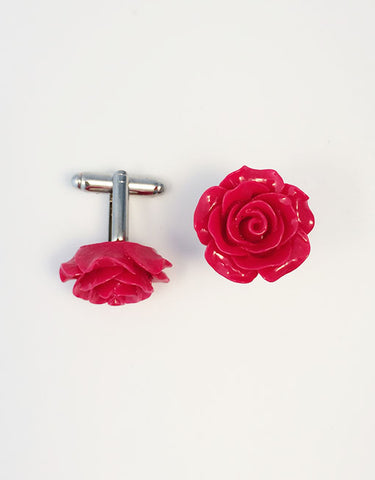 Flower Cufflinks | Red Floral Cuff Links | Polished Finish Cufflinks | Hand Made in USA