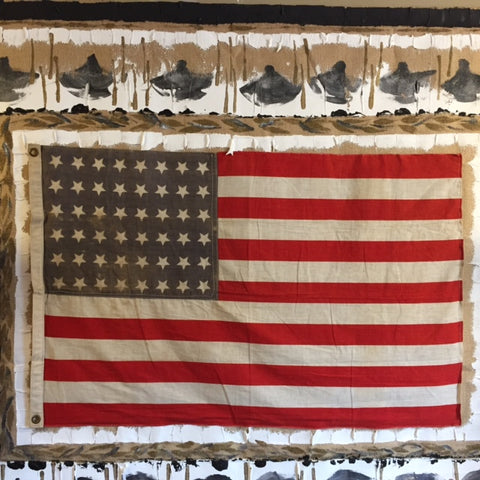Original Oil Painting with Vintage Roosevelt American Flag | Abstract Historic American Pop | 66 by 52 Inches | Patriotic Art | Laura Roosevelt-Burlap Acrylic-Sterling-and-Burke