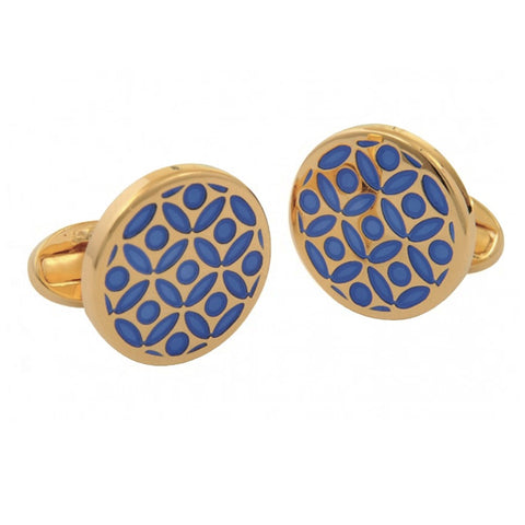 Enamel Cufflinks | Rose Cufflinks | Deep Cobalt and Gold | Halcyon Days | Made in England