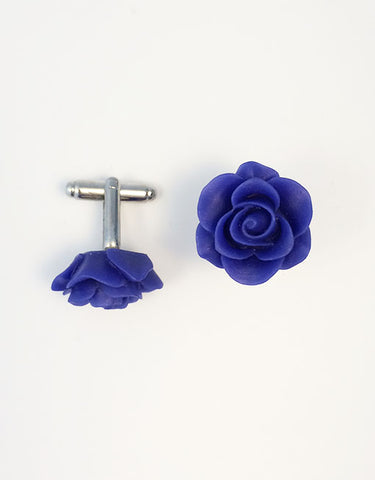 Flower Cufflinks | Royal Blue Floral Cuff Links | Matte Finish Cufflinks | Hand Made in USA-Lapel Pin-Sterling-and-Burke