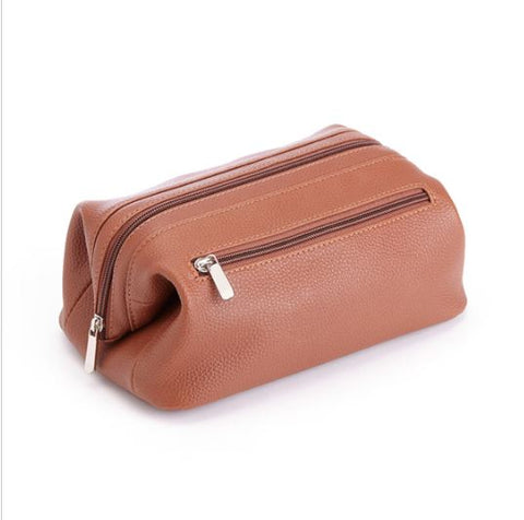 Leather Toiletry Bag | A Proper Toilet Kit | Textured Leather | Initials Monogram Short Name | 9 Inches-Toiletry Bag-Sterling-and-Burke