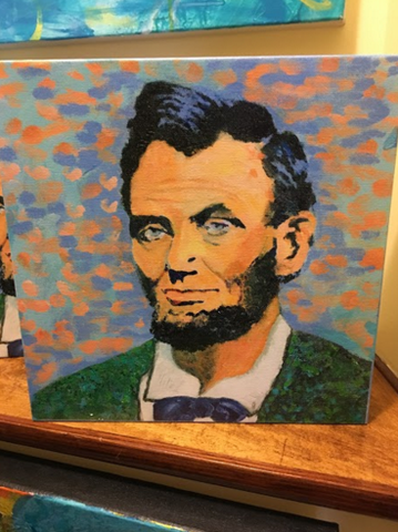"Abraham Lincoln 16th | Presidential Portrait | Giclee by Sue | 11"" x 11"""