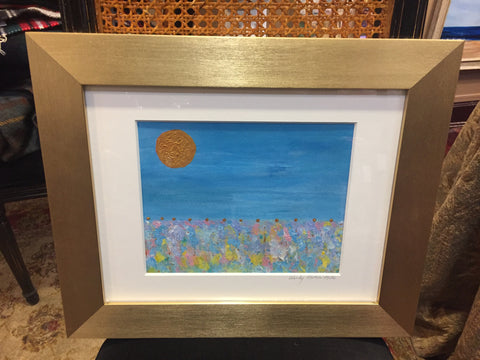 Contemporary Art | Seascape | Acrylic Painting | Framed in Gold | 17.5 by 14.5 Inches | Wendy Plotkin-Mates