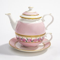 Halcyon Days Shell Garden Floral Rose Tea for One in Pink