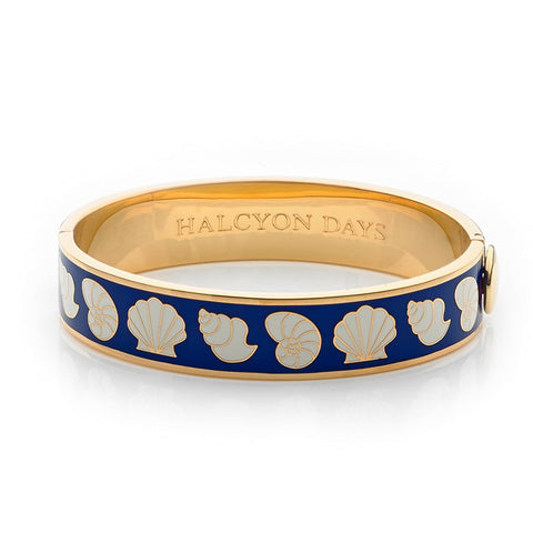 Enamel Bangle | 13mm Shells Hinged Bangle | Deep Cobalt, Cream, and Gold | Halcyon Days | Made in England