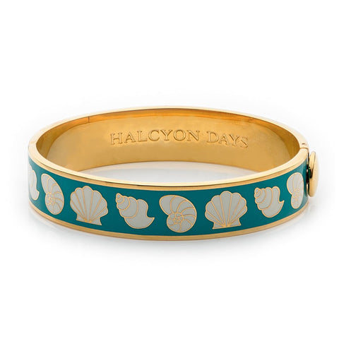 Enamel Bangle | 13mm Shells Hinged Bangle | Turquoise, Cream, and Gold | Halcyon Days | Made in England