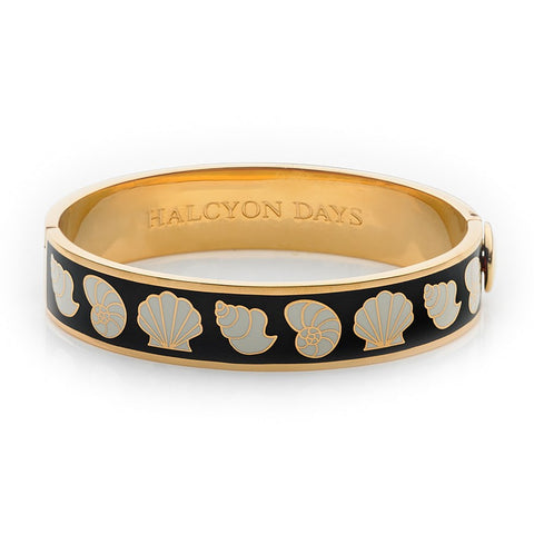 Enamel Bangle | 13mm Shells Hinged Bangle | Black, Cream, and Gold | Halcyon Days | Made in England