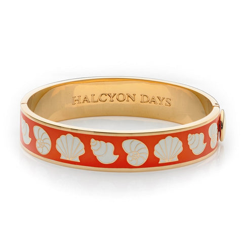 Enamel Bangle | 13mm Shells Hinged Bangle | Orange, Cream, and Gold | Halcyon Days | Made in England