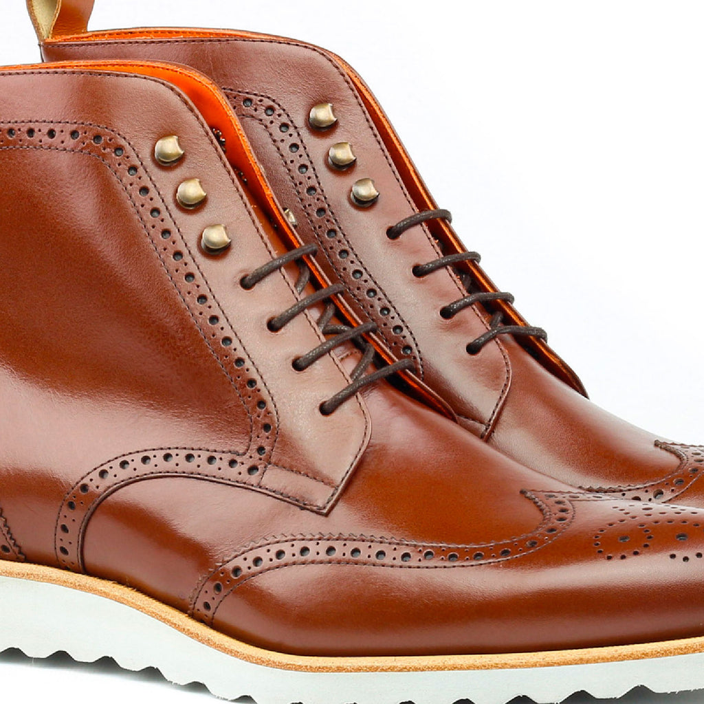 Custom Shoes | Military Brogue Boot | White Sport Sole | Sterling & Burke-Bespoke Shoes-Sterling-and-Burke