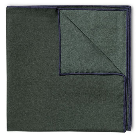 Budd Shoe Lace Silk Handkerchief in Green & Navy