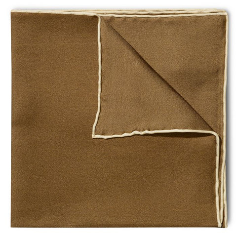 Budd Shoe Lace Silk Handkerchief in Brown & Cream-Pocket Square-Sterling-and-Burke