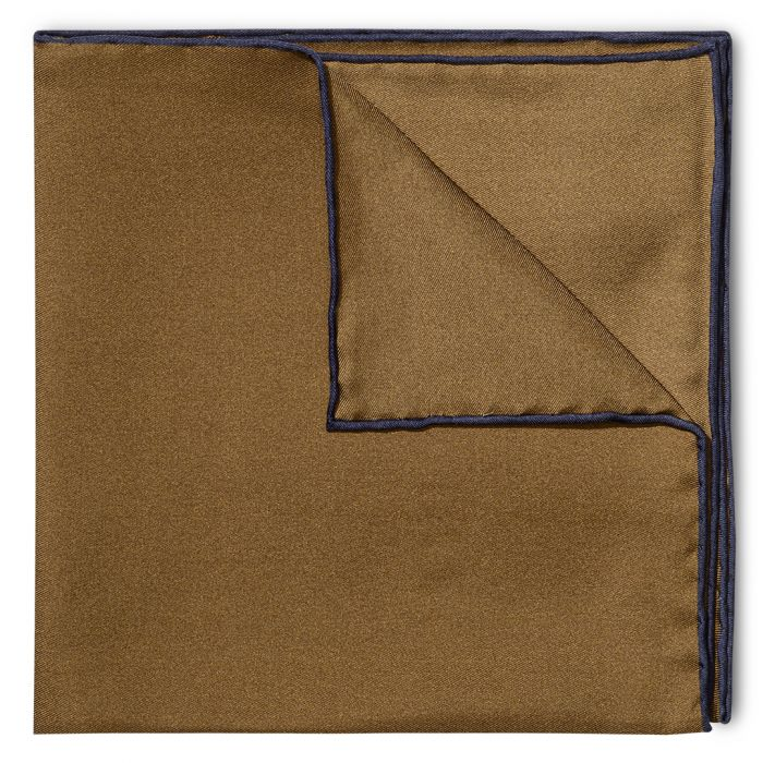 Budd Shoe Lace Silk Handkerchief in Brown & Navy-Pocket Square-Sterling-and-Burke
