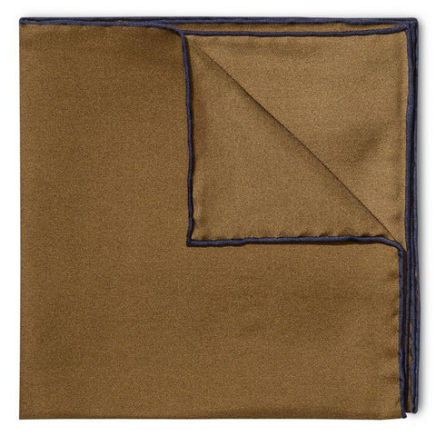 Budd Shoe Lace Silk Handkerchief in Brown & Navy