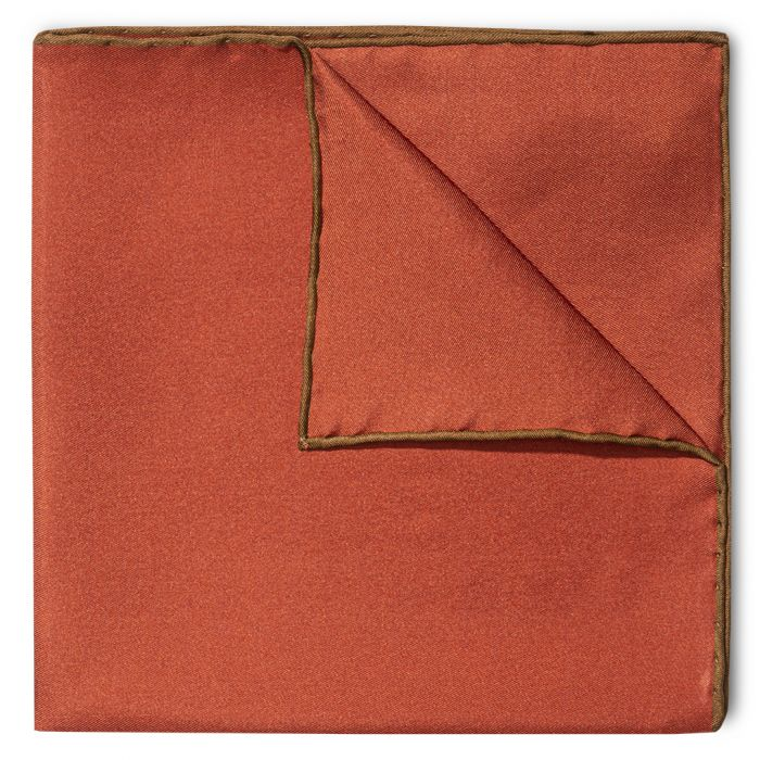 Budd Shoe Lace Silk Handkerchief in Copper & Brown-Pocket Square-Sterling-and-Burke
