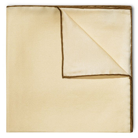 Budd Shoe Lace Silk Handkerchief in Cream & Brown-Pocket Square-Sterling-and-Burke