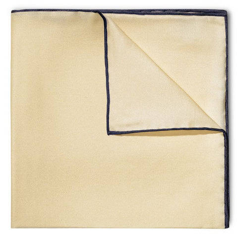 Budd Shoe Lace Silk Handkerchief in Cream & Navy