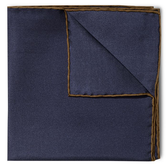 Budd Shoe Lace Silk Handkerchief Navy & Brown-Pocket Square-Sterling-and-Burke
